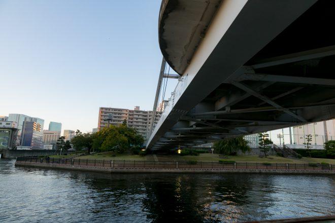 橋の下から眺める街と橋