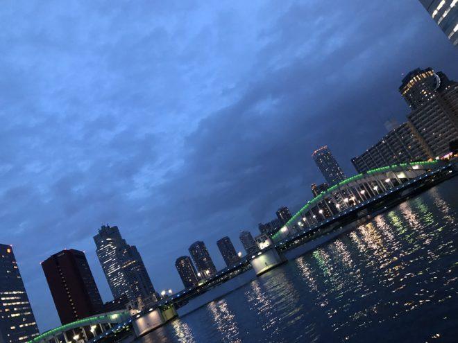 船上から見る街の夜景とライトアップされた橋
