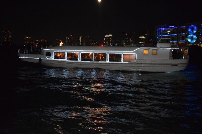 湾上に浮かぶライトアップされた中型パーティー船