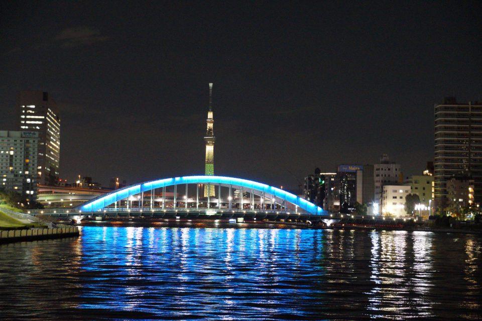 隅田川の夜景と永代橋と東京スカイツリー