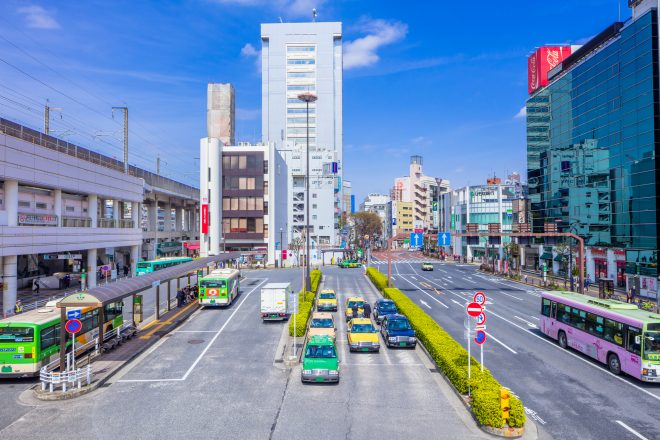 俯瞰視点で眺める街の風景