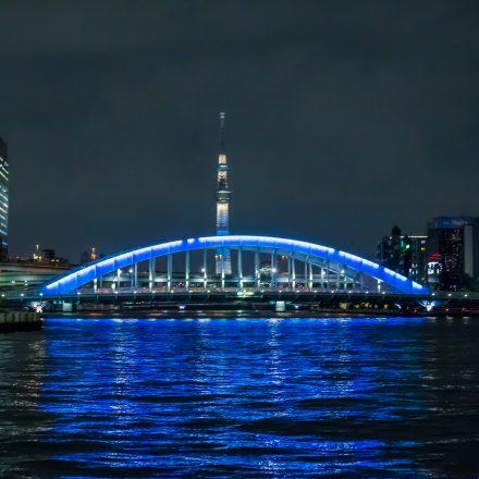 永代橋とスカイツリーがきれいにライトアップされている