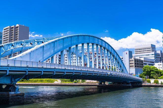 きれいな青空と隅田川にかかる橋
