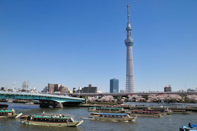 東京スカイツリーとたくさんの屋形船