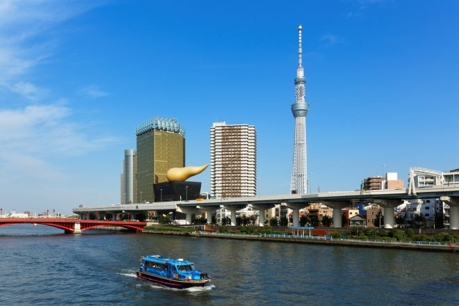 隅田川をクルージングしている様子