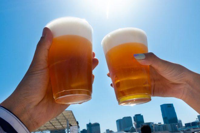 青空の下ビールで乾杯