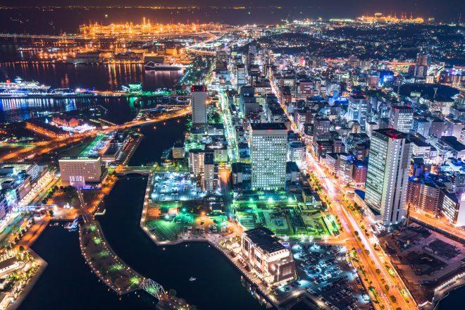 上空から見た夜の横浜