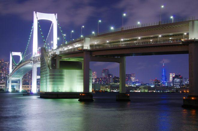 ライトアップされた橋と都会の夜景