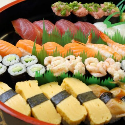 Sushi on a special sushi plate