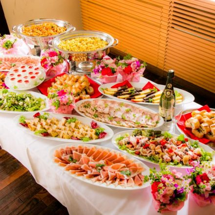 Beautifully-served Italian buffet on the buffet table