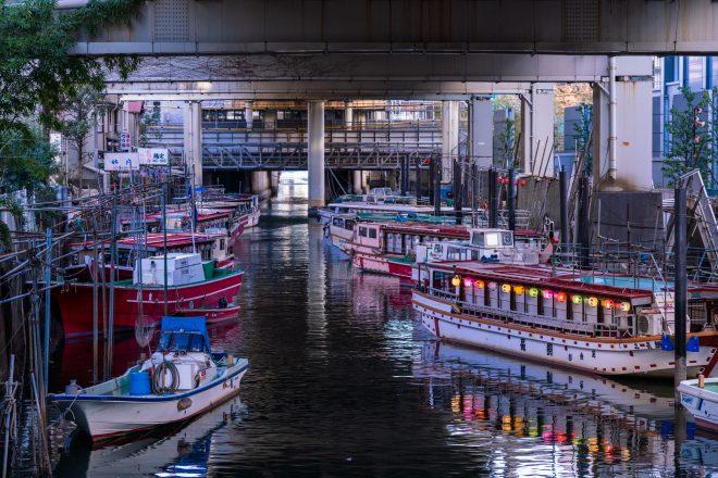 橋の下に停泊する屋形船