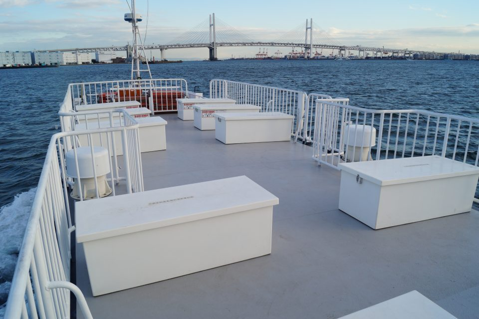 Rooftop deck of * sailing through Tokyo Bay
