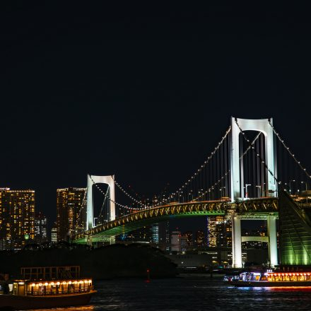 都会の夜景と明かりの灯る屋形船