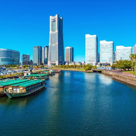 横浜のビル群と停泊している屋形船