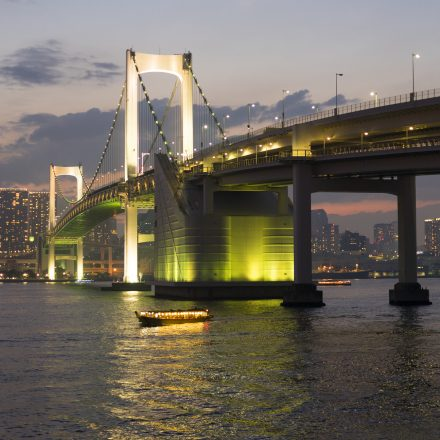 海上から見るライトアップされたレインボーブリッジと東京タワー