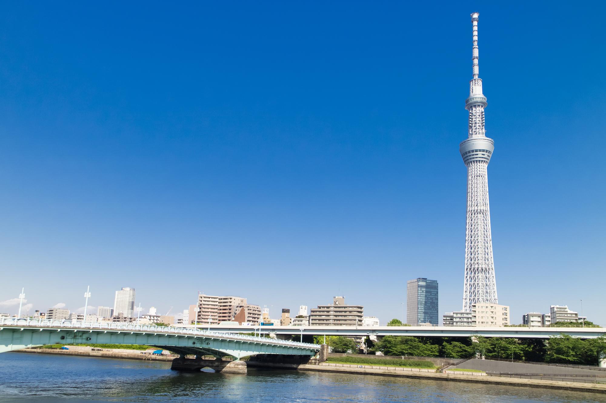スカイツリーが見える隅田川と屋形船